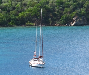 "Antiquity at Anchor at ""Treasure Island"" BVI"