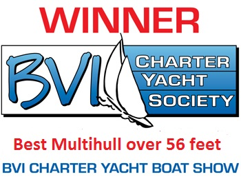 XENIA 74 Winner of Best Multihull over 56ft at the annual BVI Charter Yacht Show