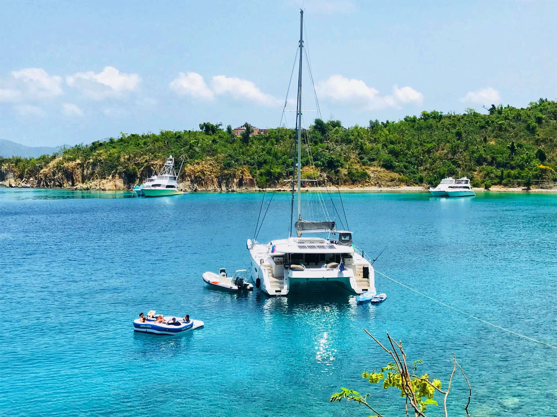 Odyssea at anchor, luxury catamaran, caribbean charters, sailing trips, regency yacht vacations, crewed yachts